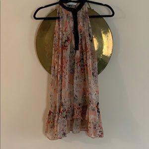 Zara 100% silk floral ruffle tank top sheer